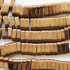 Бусина Гематит немагнитный с двумя отверстиями, цвет - золотисто-коричневый, 6х3х2 мм, нить