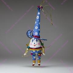 Ёлочная игрушка клоун-яйцо в остроконечной шляпе