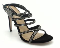 Босоножки натуральный велюр черного цвета с дэкором из страз, высокий каблук.