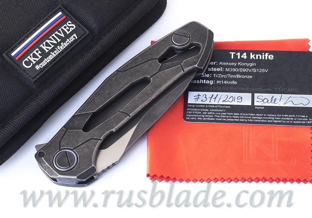 CKF T14B (new T90) knife - Alexey Konygin, M390, Copper, Ti, Sale Card