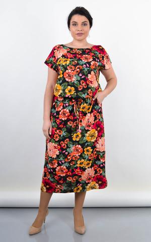 Мрія. Яскрава сукня великих розмірів. Квіти на чорному.