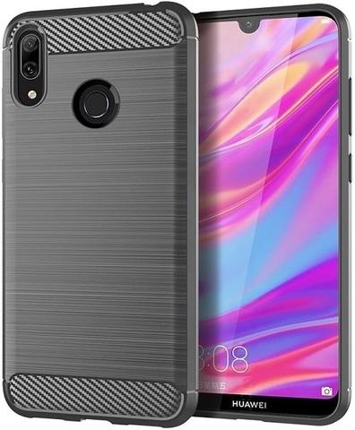 Чехол Carbon для Huawei Y7 (2019)/Y7 Pro/Y7 Prime серия Карбон | серый