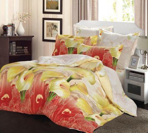 Сатиновое постельное бельё  2 спальное  В-152