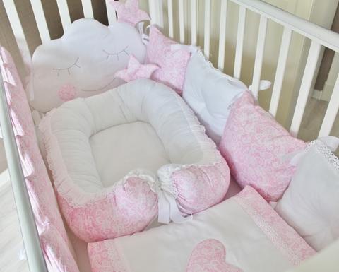 Комплект в кроватку Сказочные сны, розовый, на 4 стороны кроватки