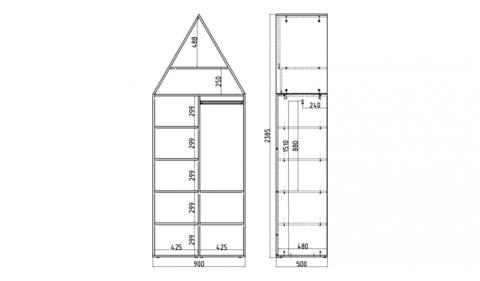 Шкаф-домик двухстворчатый XL-1 (Н)