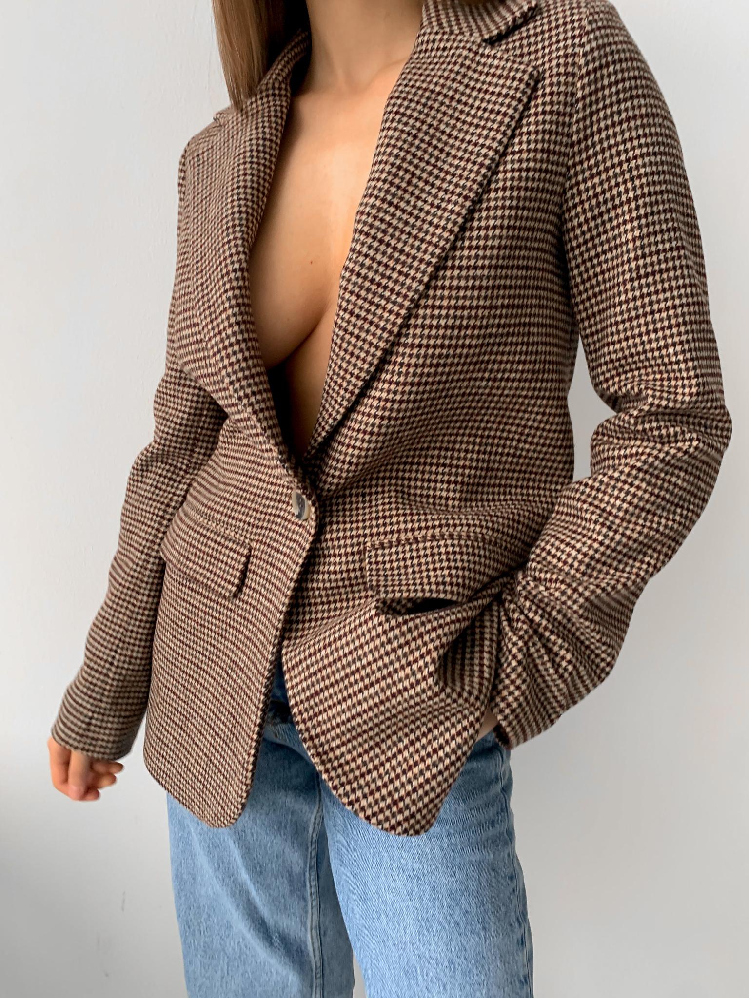 Прямой теплый однобортный пиджак (коричневая гусиная лапка)