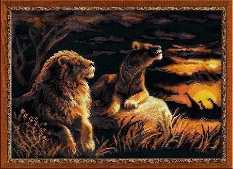 Набор для вышивания крестом «Львы в саванне» (1142)