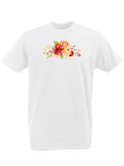 Футболка с принтом Цветы (Пионы) белая 0002