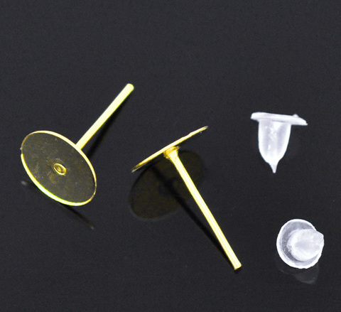 Пуссеты - гвоздики с круглой площадкой 8 мм (цвет - золото) 5 пар (с заглушками) (B11064A)