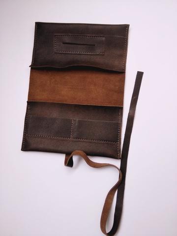 Кожаный кисет ручной работы 20х9 см Brewer Lab для табака