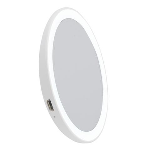 ULK-F73 SW/DIM/RECH WHITE Зеркало карманное с подсветкой, с диммером. Серия Backstage. Аккумулятор Li-Ion 150мАч, в/к. Теплый свет(3000К)/Белый свет(4000К)/Дневной свет(6500К). Белый. ТМ Uniel