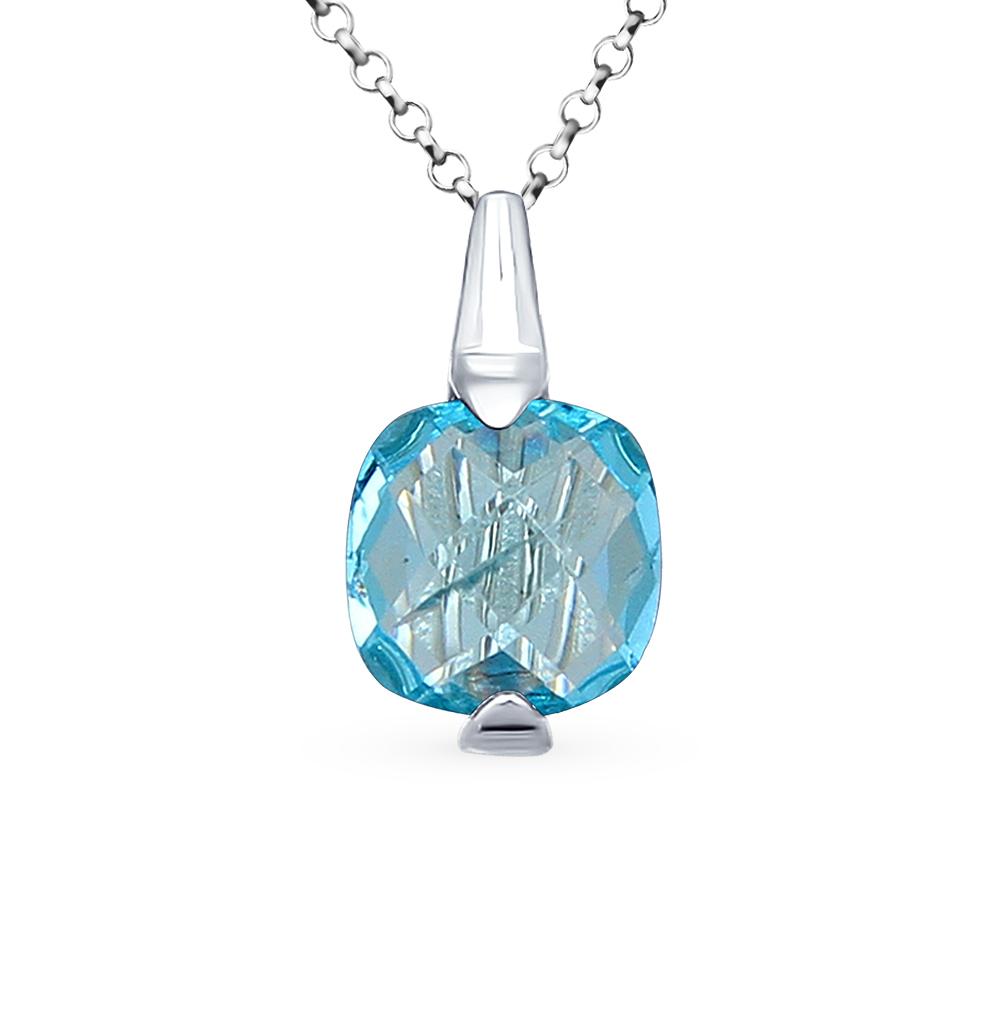 Подвеска из серебра с голубым стеклом