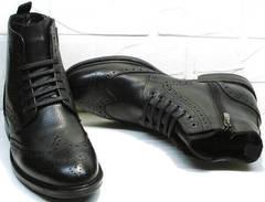 Черные зимние ботинки мужские натуральная кожа LucianoBelliniBC3801L-Black