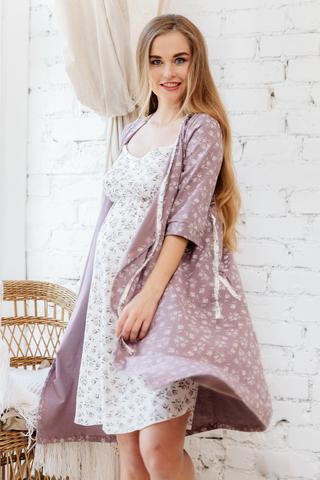 Комплект для беременных и кормящих с халатом и сорочкой 09972 коричневый-бежевый