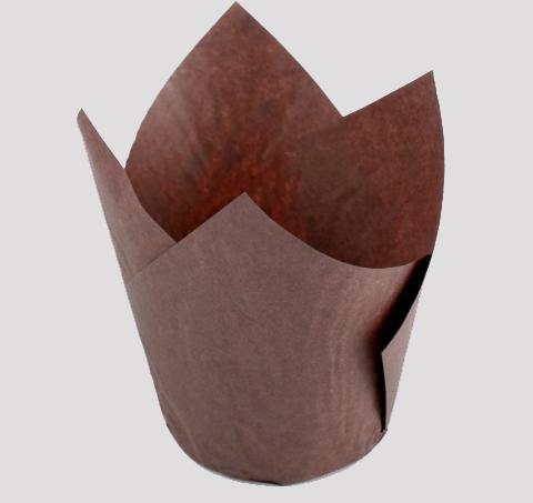 Форма бумажная для капкейков/маффинов коричневая 50*80 h=8.5см, 10шт