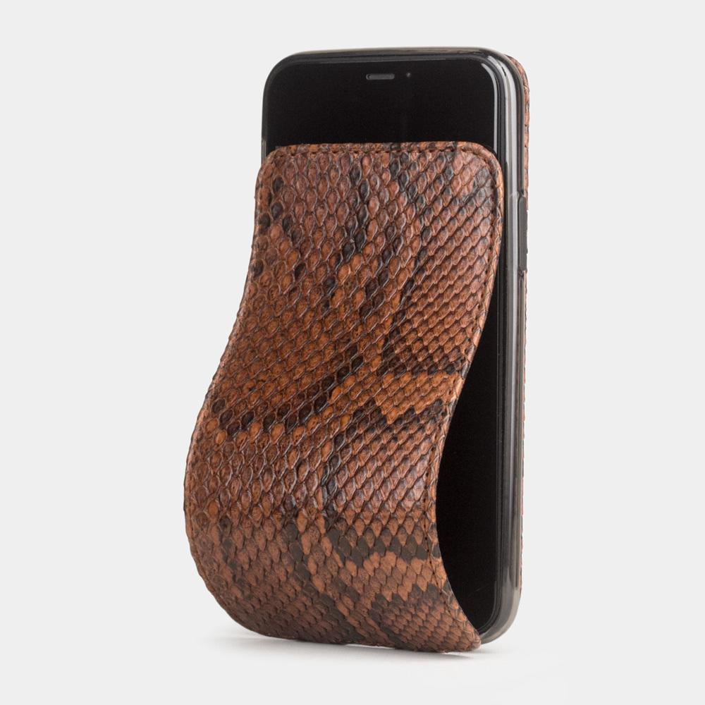 Чехол для iPhone 11 Pro Max из натуральной кожи питона, цвета коньяк