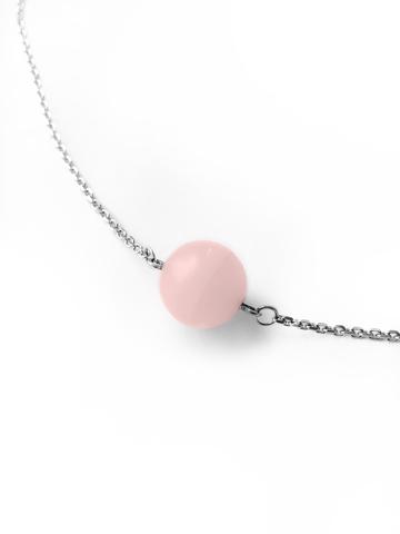Серебряное колье с розовым кварцем