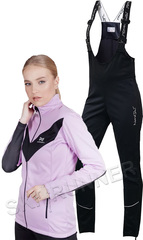 Женский утеплённый лыжный костюм Nordski Base Orchid-Black с высокой спинкой