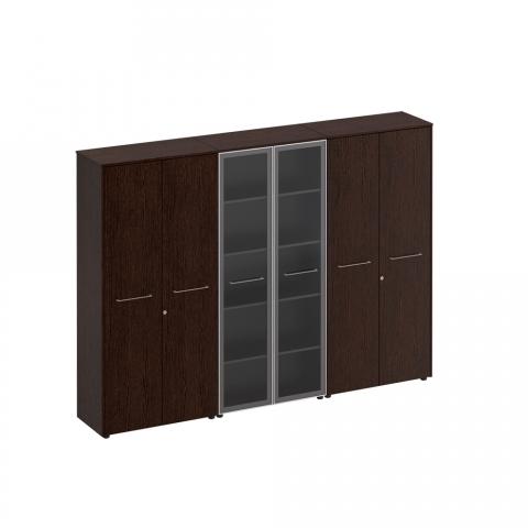 Шкаф комбинированный (закрытый - стекло - одежда) (274x46x196)