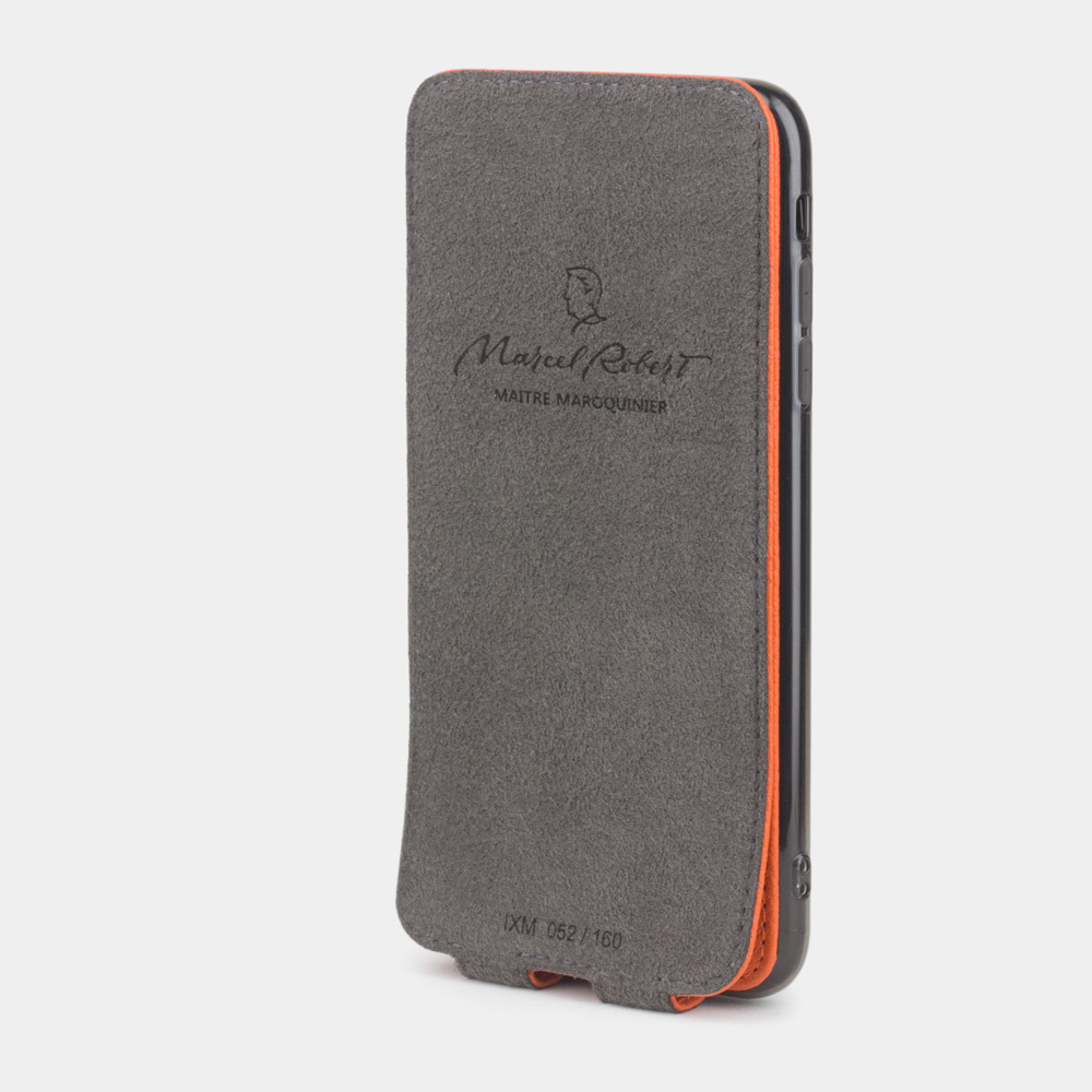 Чехол для iPhone XS Max из натуральной кожи теленка, оранжевого цвета