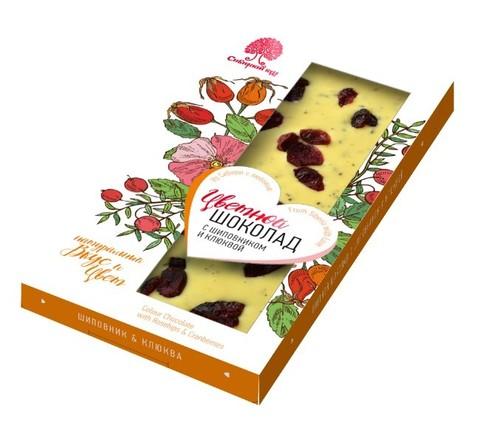 Шоколад цветной с шиповником и клюквой / 100 г