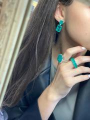 Серьги Emerald из серебра с  прямоугольными кварцами цвета парабаиба