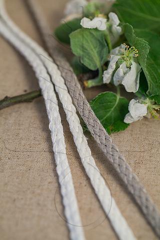 Льняной плетеный шнур 6 мм, 3 цвета