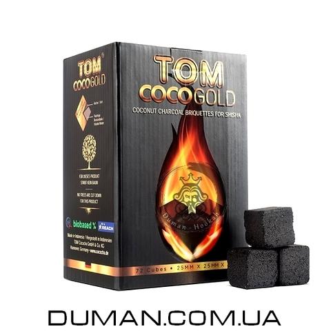 Натуральный кокосовый уголь для кальяна Tom Cococha Gold (Том Кокоча) |1кг 72куб 25*25мм