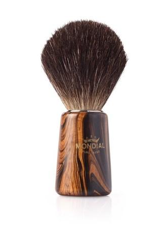 Помазок для бритья Mondial, дерево, ворс барсука, рукоять - цвет темного дерева