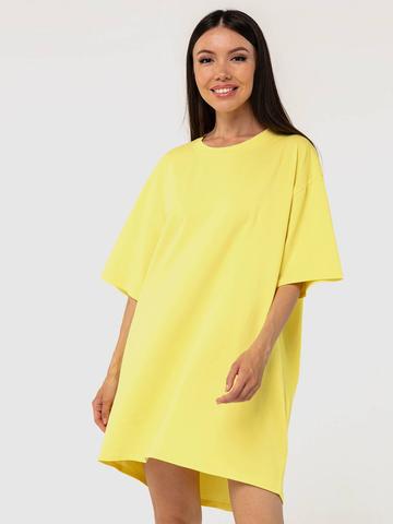 Платье-футболка хлопковое желтое YOS