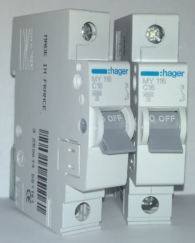 арт. MY116; Автоматический выключатель HAGER 1P 4,5kA C-16A 1M