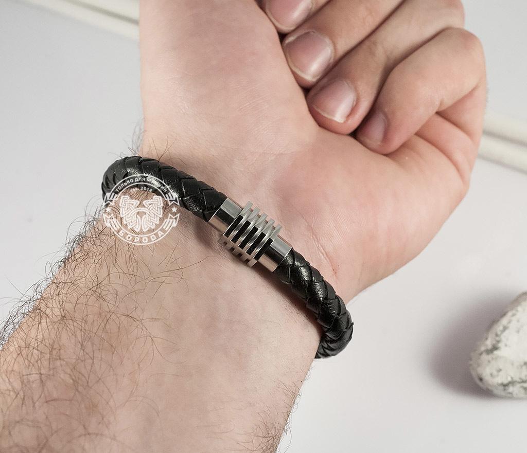 BM361 Массивный мужской браслет из кожаного шнура и стали (19 см) фото 07