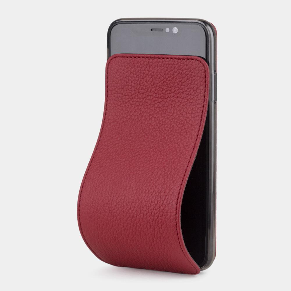 Чехол для iPhone XS Max из натуральной кожи теленка, вишневого цвета