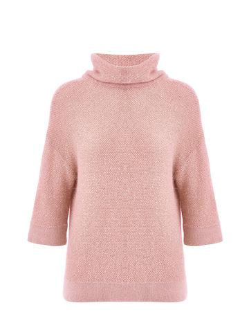 Женский свитер бежево-розового цвета из ангоры - фото 1