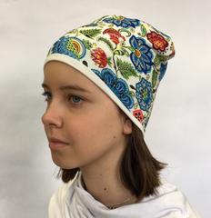 Детская шапочка бини с принтом Русские цветы