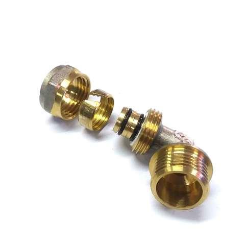 Угол обжимной для металлопластиковых труб 16х1/2 наружная резьба Valve