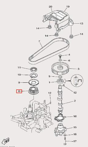 Шкив коленвала 16+J84 для лодочного мотора F9,9 Sea-PRO (8-8)