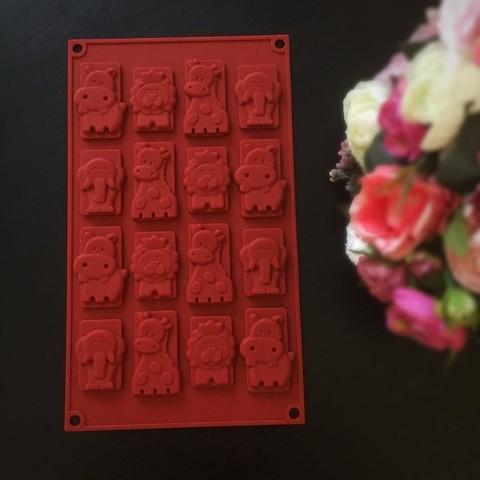 Силиконовая форма для шоколада визитки ЗООПАРК 16в1 (65х30мм)