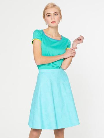 Фото летняя голубая юбка расклешенного силуэта на молнии - Юбка Б024-111 (1)