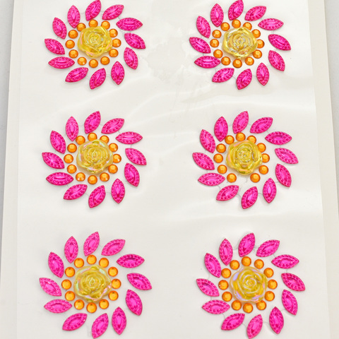 Стразы цветочки 8 шт желто-розовые