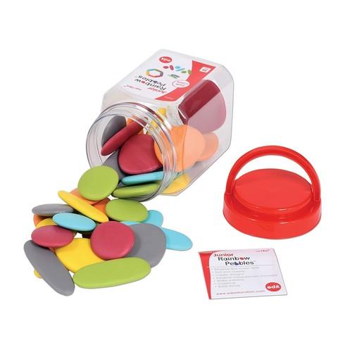 Игровой набор Junior Радужные камешки природные цвета контейнер Edx education 13229J