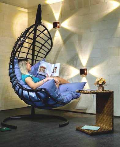 Подвесное кресло-кокон БАРСЕЛОНА ПЛЮС черное + каркас + синяя подушка