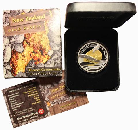 1 доллар 2006 год. Золотая лихорадка Добыча золота. Новая Зеландия. Серебро