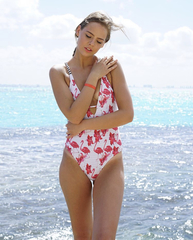 купальник слитный белый с принтом фламинго розовый 8
