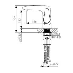 Смеситель KAISER Plane 07011 хром для раковины схема