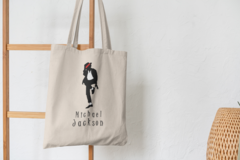 Сумка-шоппер с принтом Майкл Джексон (Michael Jackson) бежевая 005