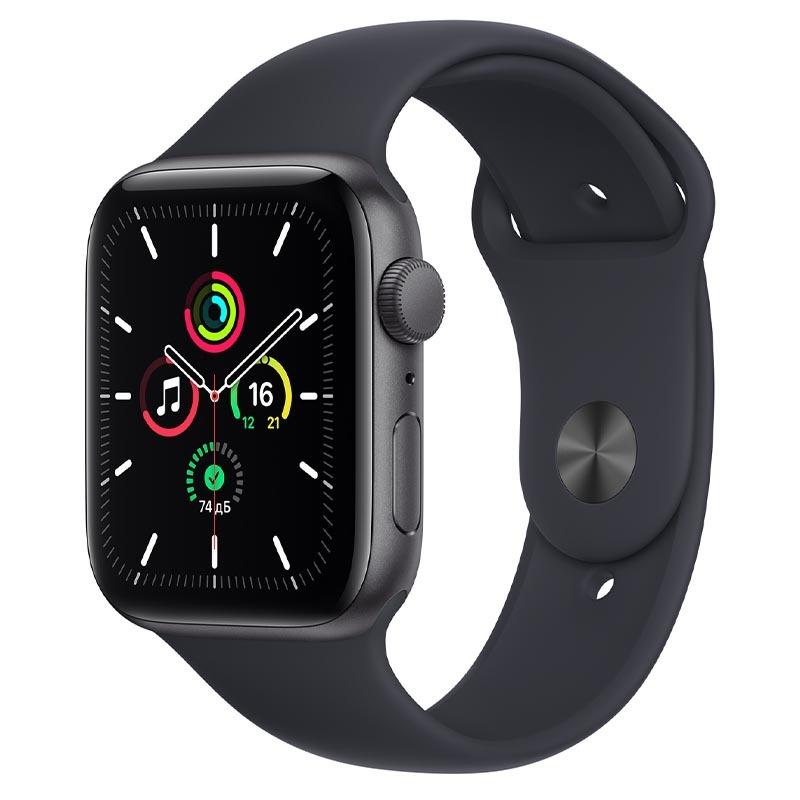 Apple Watch SE, GPS, 44 мм, алюминий цвета «серый космос», спортивный ремешок цвета «Тёмная ночь»