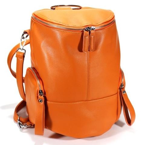 Оранжевый рюкзак из искуственной кожи в форме боченка