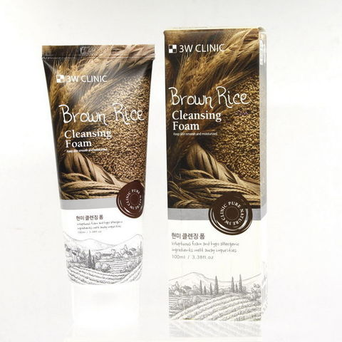 Пенка для умывания КОРИЧНЕВЫЙ РИС/НАТУРАЛЬНАЯ Brown Rice Foam Cleansing, 100 мл 3W CLINIC