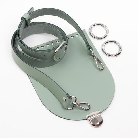 """Комплект для сумочки Орео """"Фисташка"""" с ручкой через плечо и замочком 200 мини"""